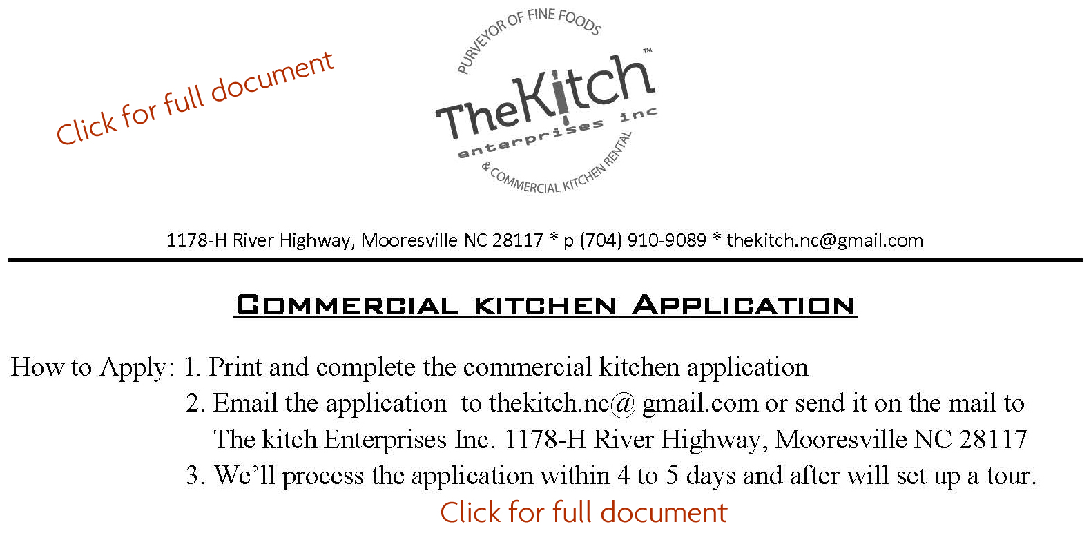 Application for commercial kitchen rental